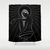 noir Shower Curtains featuring Amaterasu Noir by Stevyn Llewellyn