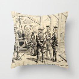 Vintage First World War Art - JM's Sketchbook - American Officers at a Forward Ordnance 'Shop' Throw Pillow