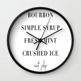 Mint Julep Cocktail Recipe Wall Clock