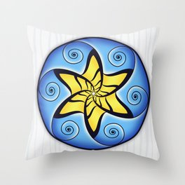 Mandala Spiral Star Throw Pillow