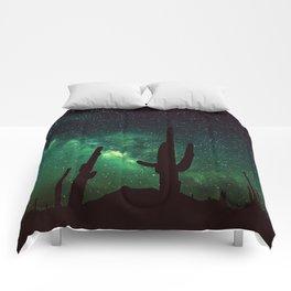milky way cacti teal green Comforters