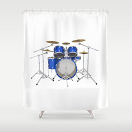 Blue Drum Kit Shower Curtain