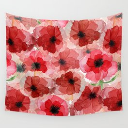 Pressed Poppy Blossom Pattern Wall Tapestry