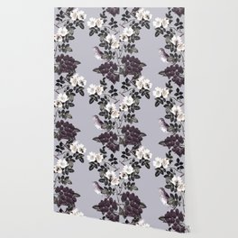Birds and the Bees Blue Gray Wallpaper
