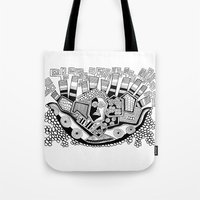 potato Tote Bags featuring Mashed potato by Brabs