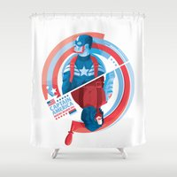 winter soldier Shower Curtains featuring The Winter Soldier by Florey