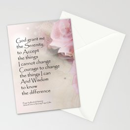 Serenity Prayer Pink Bouquet Stationery Cards