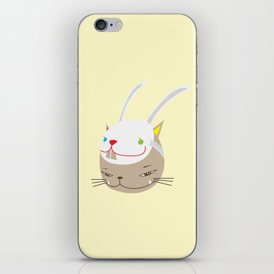 CAT WITH RABBITZ MASK iPhone & iPod Skin
