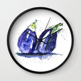 Watercolor art of bright eggplants. Freshness watercolor vegetables illustration. Wall Clock