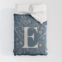 Botanical Letter E (Lake Blue) Comforters