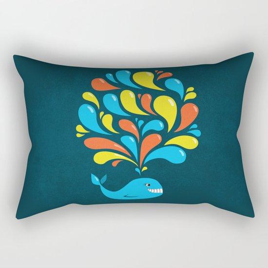 Dark Colorful Happy Cartoon Whale Rectangular Pillow