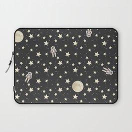 Space - Stars Moon and Astronauts on black Laptop Sleeve