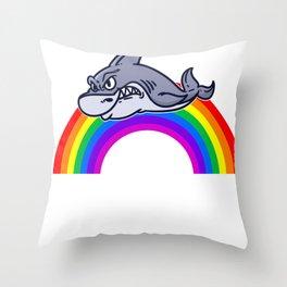 Rainbow Gift Shark Animal Funny Sweet Throw Pillow