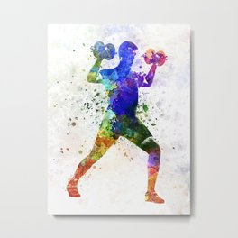 Man exercising weight training Metal Print