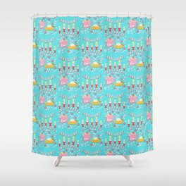 Holiday Candy, gingerbread, coffee, hot chocolate, pie and candles, Christmas, hygge Shower Curtain