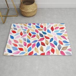 Colorful leaves pattern in watercolor Rug