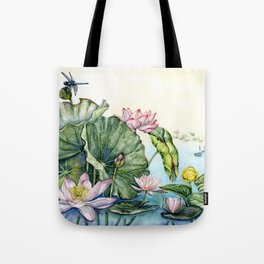 Japanese Water Lilies and Lotus Flowers Tote Bag