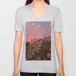 Winter Sunset And Clematis Vines Unisex V-Neck