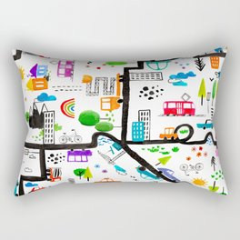 Busy City Streets Kids Watercolor Pattern Rectangular Pillow