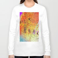 new york map Long Sleeve T-shirts featuring New York Map by Ganech joe