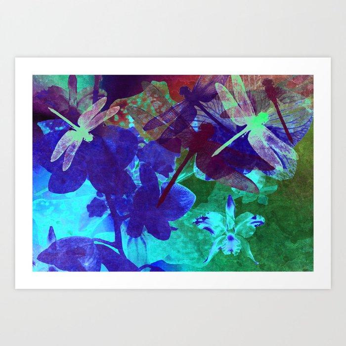 Dragonflies W Art Print
