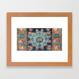 Karabakh  Antique South Caucasus Azerbaijan Rug Print Framed Art Print