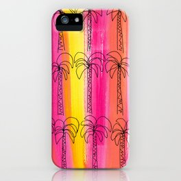 Live For the Moment (palm trees pattern summer beach tropical nature pink orange yellow stripes) iPhone Case