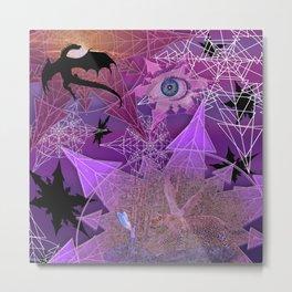 Snowflakes and Dragons Metal Print
