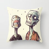 zombies Throw Pillows featuring Zombies! by Peerro