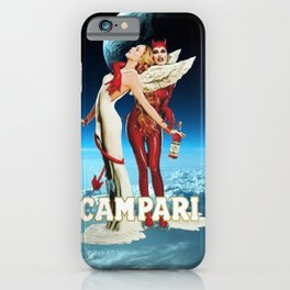 Classic Campari Alcoholic Angel & Devil - Earth, Sun, and Stars Aperitif Advertising Vintage Poster iPhone Case