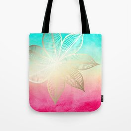 Gold Flower on Turquoise & Pink Watercolor Tote Bag