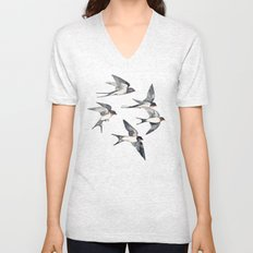 Blue Sky Swallow Flight Unisex V-Neck