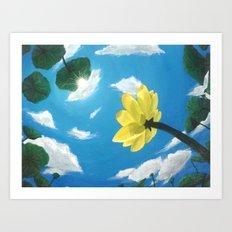 Things Are Looking Up garden lotus pond zen garden art painting Art Print