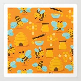 Cute Honey Bee Pattern Art Print