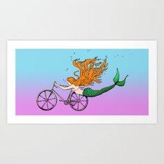 Mermaid on a Bike Art Print