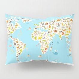 Animals world map. Beautiful cheerful colorful vector illustration for children and kids. Preschool, Pillow Sham