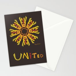 United Mandala with UNITED (s) - Brown Stationery Cards