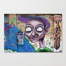 Purple, blue and green graffiti Canvas Print