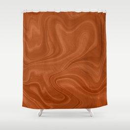 Burnt Orange Swirl Marble Shower Curtain