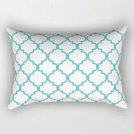 Moroccan Trellis (Teal & White Pattern) Rectangular Pillow