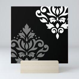 Scroll Damask Art I Black Grey White Mini Art Print