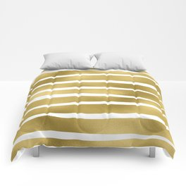 Simply Luxury Gold unequal glitter stripes on clear white - horizontal pattern Comforters