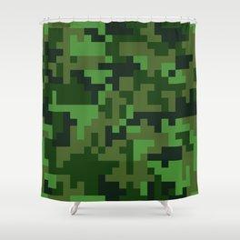 Green Jungle Army Camo pattern Shower Curtain