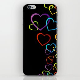colorful valentine hearts art iPhone Skin