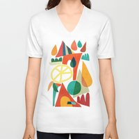 house V-neck T-shirts featuring Summer Fun House by Picomodi