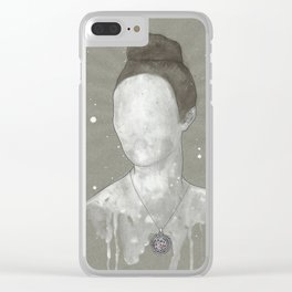 girl with kütahya porcelain çini necklace Clear iPhone Case
