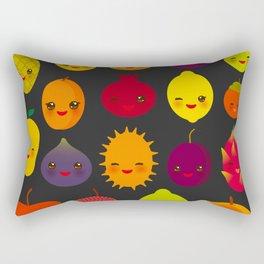 kawaii fruit Pear Mangosteen tangerine pineapple papaya persimmon pomegranate lime Rectangular Pillow