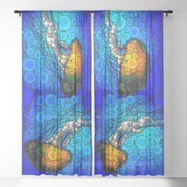 Ocean jellyfish photo bubble art | Go with the flow Sheer Curtain