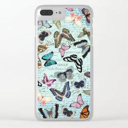 butterflies blue Clear iPhone Case