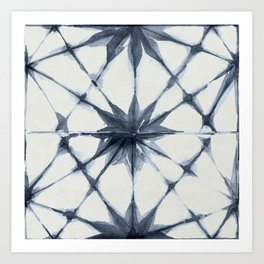 Shibori Starburst Indigo Blue on Lunar Gray Art Print